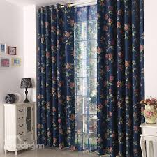 Blue Floral Curtains High Quality Blue Floral Grommet Top Custom Curtain