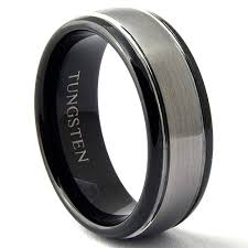 tungsten black rings images Two tone gun metal black tungsten carbide ring domed jpg
