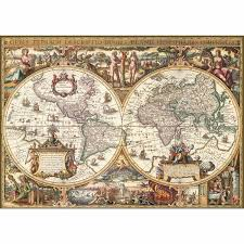 World Map Puzzles by Jigsaw Puzzle 1000 Pieces Print Wood Antic Map Of The World
