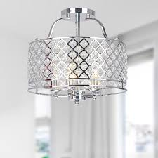 Crystal Ceiling Mount Light Fixture by Evelyn Chrome And Crystal Ceiling Flush Mount Chandelier Free
