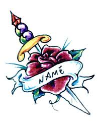 dagger rose and name tattoo free design ideas