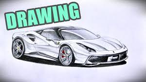 how to draw ferrari 488 gtb time lapse video youtube