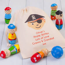 children u0027s wooden pirate skittles and personalised bag by british