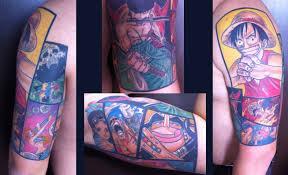 one piece tattoo half sleeve by tma1992 on deviantart