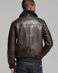 brown motorcycle jacket andrew marc stewart shearling collar leather jacket in brown for