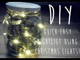 how to make mason jar lights with christmas lights diy night light using christmas lights youtube