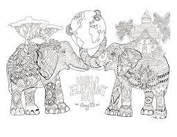 Jour mondial des elephants  Eléphants  Coloriages difficiles pour