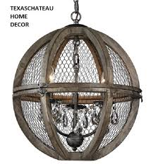 French Wire Chandelier French Farmhouse Wood U0026 Chicken Wire U0026 Crystal Sphere Pendant