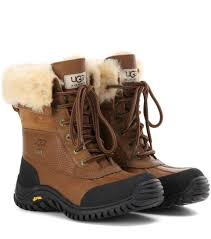 s ugg australia leather boots ugg australia adirondack ii fur trimmed leather boots otter brown