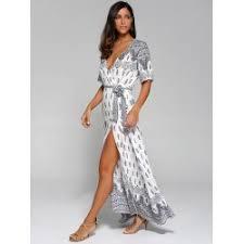wholesale surplice high slit paisley maxi dress xl white online