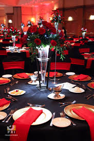 red and black table settings silver wedding anniversary decorating