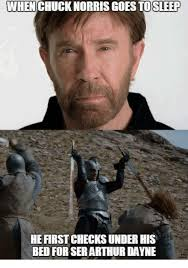 Memes Chuck Norris - when chuck norris goes tosleep he first checks under his