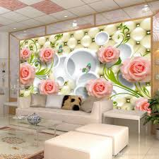 Wall Murals For Living Room Photo Wallpaper Romantic Painting Pink Stereoscopic Rose Flower