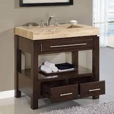 One Sink Bathroom Vanities by Bathroom Decoration Using Open Shelf Cherry Wood Single Sink