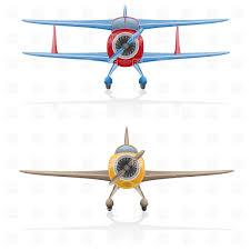 front cartoon biplane airscrew airplane vector