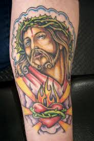 barbed jesus n sacred heart tattoo design tattoos book