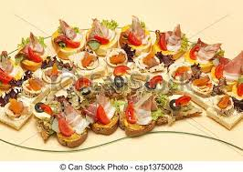 canapes finger food finger food canapes and one bite appetizers at tray stock photo