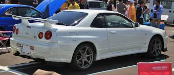 nissan skyline 2015 blue file nissan skyline gt r r34 v spec ii rear jpg wikimedia commons