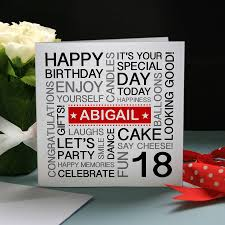 personalised 18th birthday card by a type of design