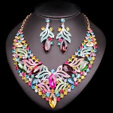 fashion necklace sets images Fashion leaf bridal jewelry sets wedding engagement necklace jpg