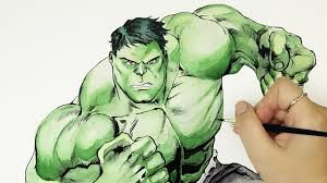 speed drawing hulk marvel avengers watercolor painting