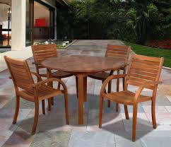 Stackable Outdoor Dining Chairs Amazonia Arizona 5 Piece Wood Outdoor Dining Set With 47