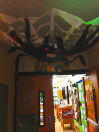 indie library halloween decorations in the library