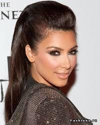 kim kardashian sleek poof ponytail it girl style pinterest