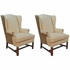Beige Wingback Chair Pair Of Chippendale Style Wingback Chairs For Sale At 1stdibs