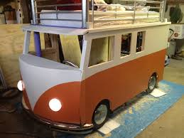 old volkswagen type 3 best dad ever builds vw bus bed for 3 year old daughter