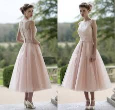 tea dresses wedding vestido madrinha 2016 blush pink tulle lace bridesmaid dresses