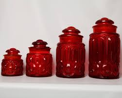 colored glass kitchen canisters vintage ruby moon depression glass set of 4 moon glass