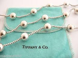 silver bead necklace tiffany images Tiffany co silver ball bead necklace pendant 37 inch chain rare jpeg