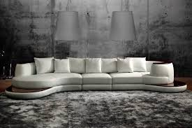 Rounded Corner Sofas Rounded Corner Italian Leather Sectional Sofa With High Gloss Trim