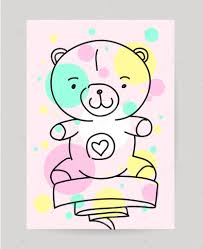 kids hand drawn greeting card design with ribbon doodle teddy