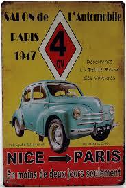 deco plaque metal plaque murale en métal salon de l u0027automobile 1947 renault 4cv