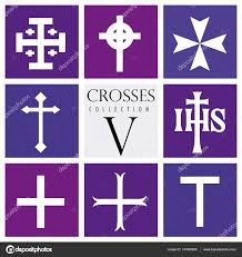 types of purple set of different types of crosses on purple background vector