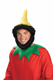 halloween costumes gnome elf gnome dwarf dwarves yellow hat beard black hair wig