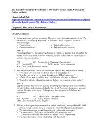 test bank for varcarolis foundations of psychiatric mental health