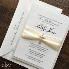 communion invitation ivory communion invitation with cross and satin ribbon