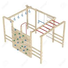 wooden jungle gym or climbing frame with handholds footholds