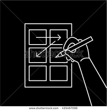 conceptual vector storyboard icon hand drawing stock vector