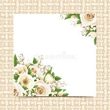 card with white flowers on a wicker background vector eps 10