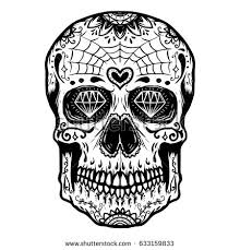 Day Of The Dead White Hand Drawn Sugar Skull Isolated On Stock Vector 633159833