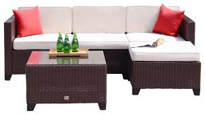 Mountain Outdoor Furniture - 5 piece rattan wicker sofa set cushioned sectional garden patio