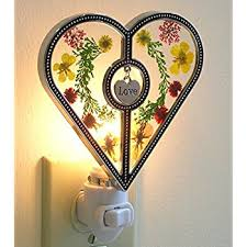 Heart Shaped Items Heart Shaped Nightlight With Pressed Flowers Hanging Engraved
