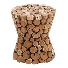 deco 79 15 x 17 inch cut tree branch wooden teak pedestal stool