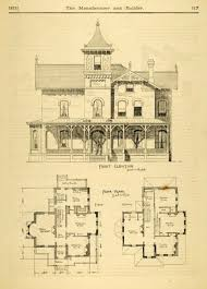 Historic Floor Plans 1873 Print House Home Architectural Design Floor Plans Victorian