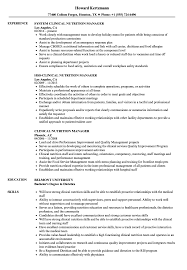 clinical manager resume clinical nutrition manager resume sles velvet