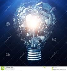 exploding light bulb on a blue background with concept creative